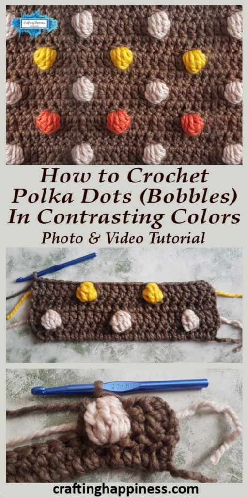 Polka Dots In Contrasting Colors Crochet Tutorial by Crafting Happiness