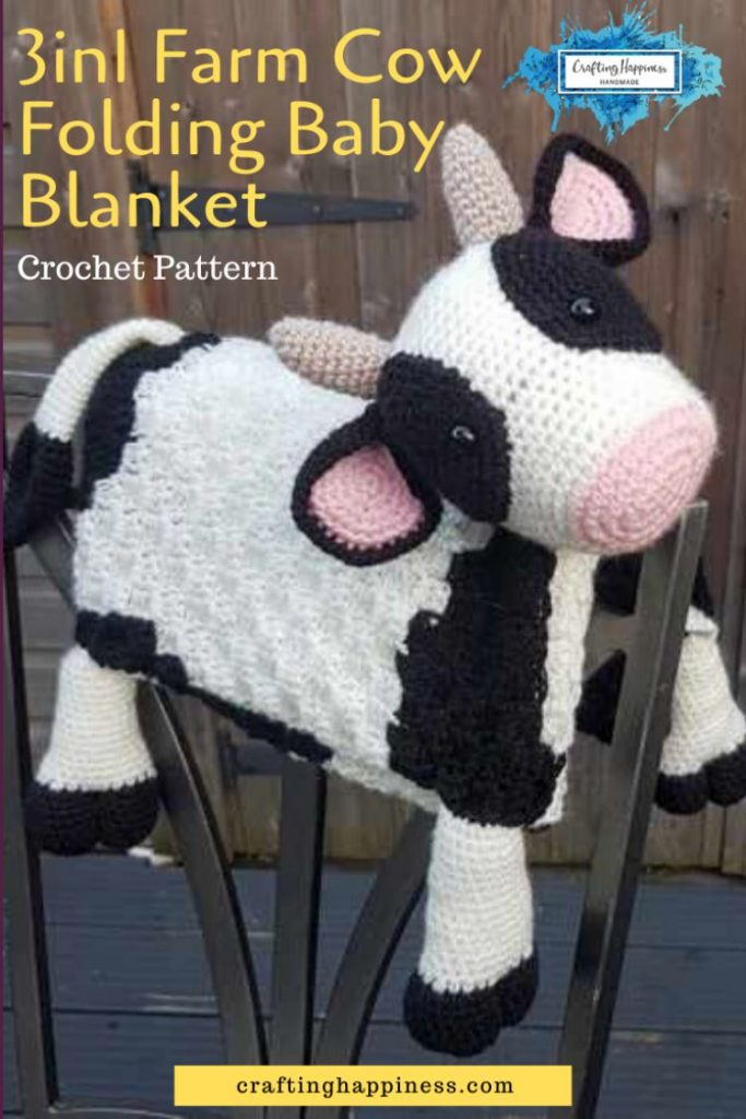 Farm Cow Baby Blanket Crochet Pattern by Crafting Happiness Pinterest Poster