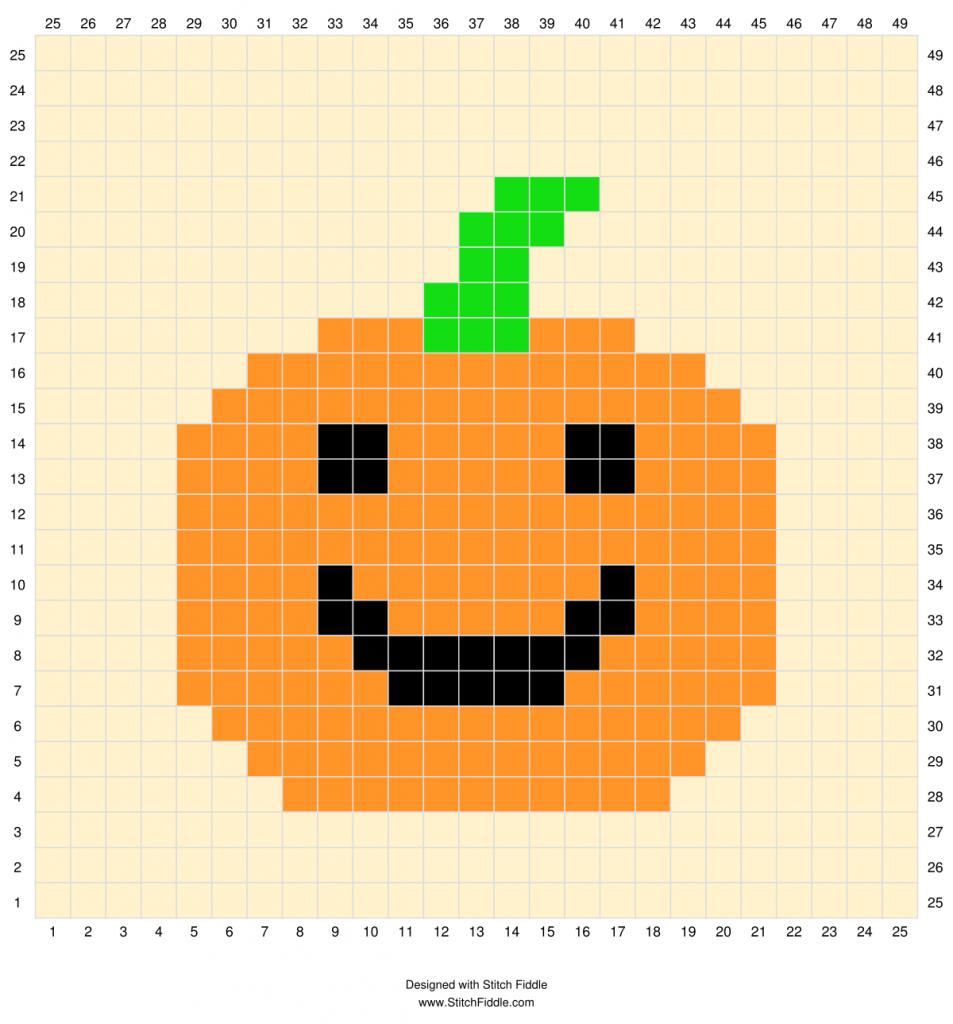 Crochet Jack o Lantern Pixel Square Chart