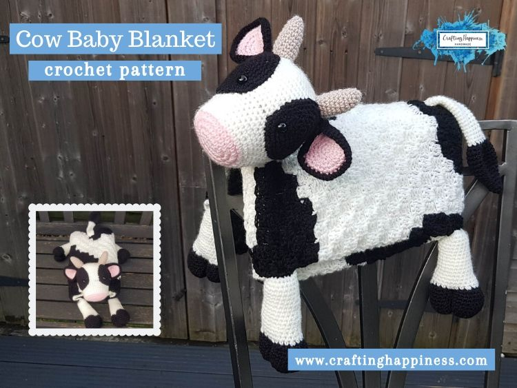 Cow Baby Blanket by Crafting Happiness FACEBOOK POSTER