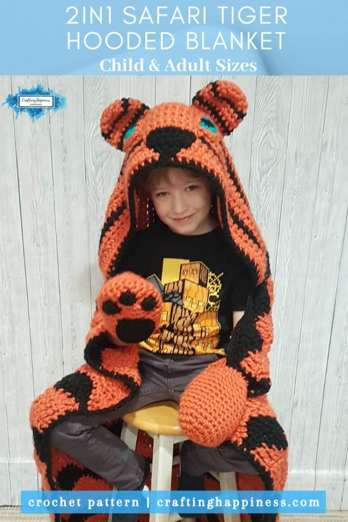 2in1 Safari Tiger Hooded Blanket In Child & Adult Sizes Crochet Pattern by Crafting Happiness