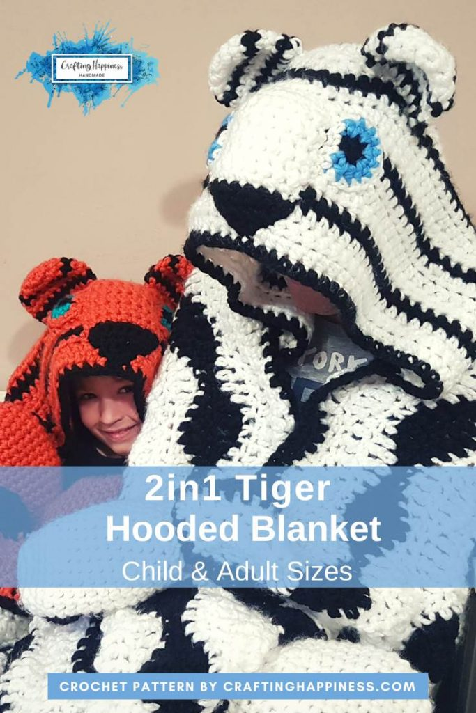 2in1 Snow Tiger Hooded Blanket In Child & Adult Sizes Crochet Pattern by Crafting Happiness