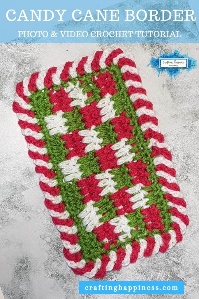 Easy Crochet Candy Cane Border For Beginners - Simple Crochet Border For Baby Blanket PINTEREST POSTER