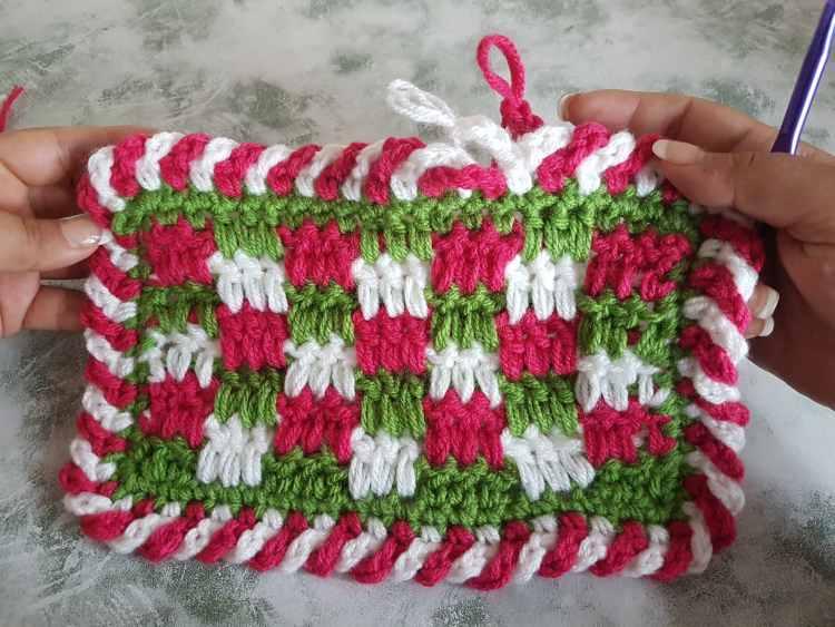 Easy Crochet Candy Cane Border For Beginners - Simple Crochet Border For Baby Blanket 4