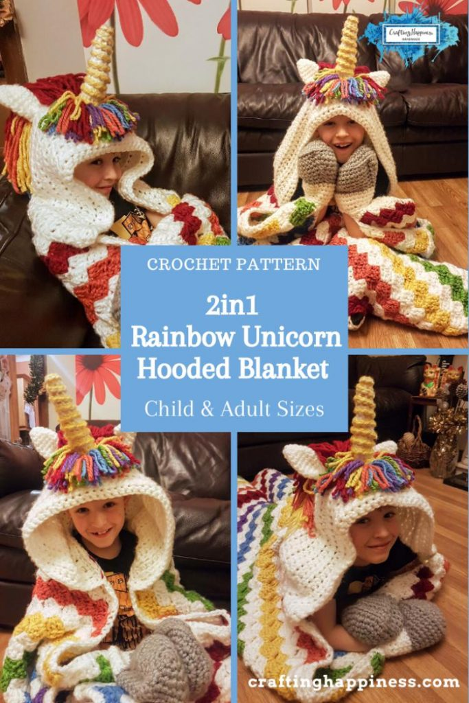 2in1 Rainbow Unicorn Hooded Blanket In Child & Adult Sizes Crochet Pattern by Crafting Happiness Poster