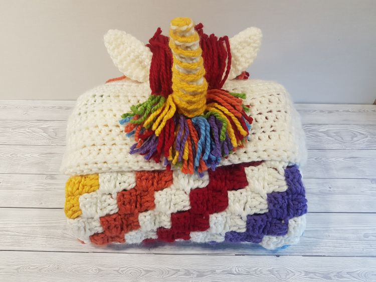 2in1 Rainbow Unicorn Hooded Blanket In Child & Adult Sizes Crochet Pattern by Crafting Happiness