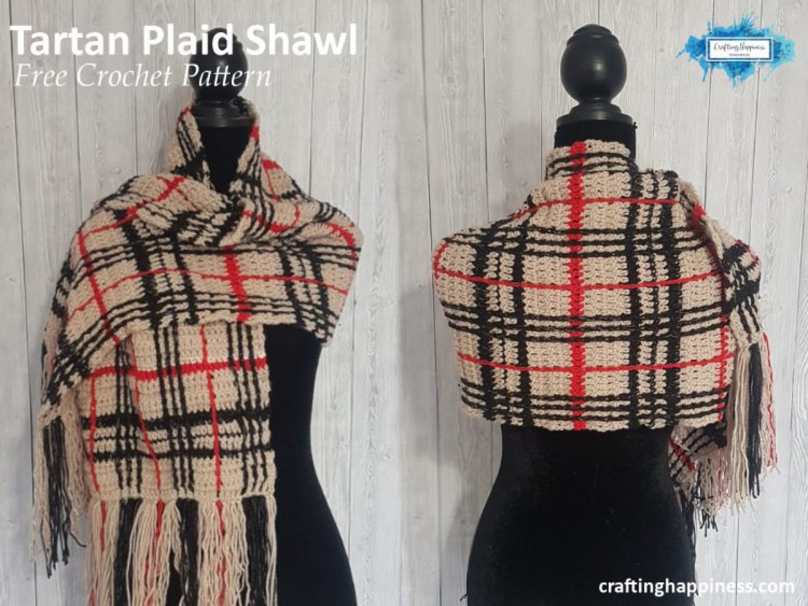 Tartan Plaid Shawl Free Crochet Pattern by Crafting Happiness