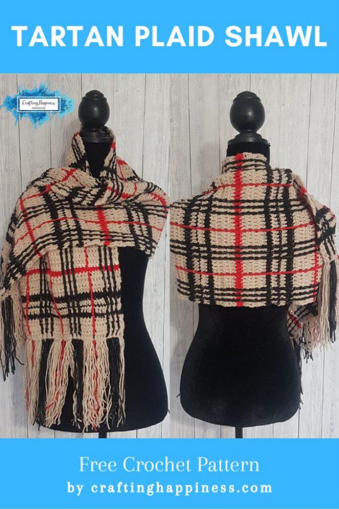 Tartan Plaid Shawl Free Crochet Pattern by Crafting Happiness