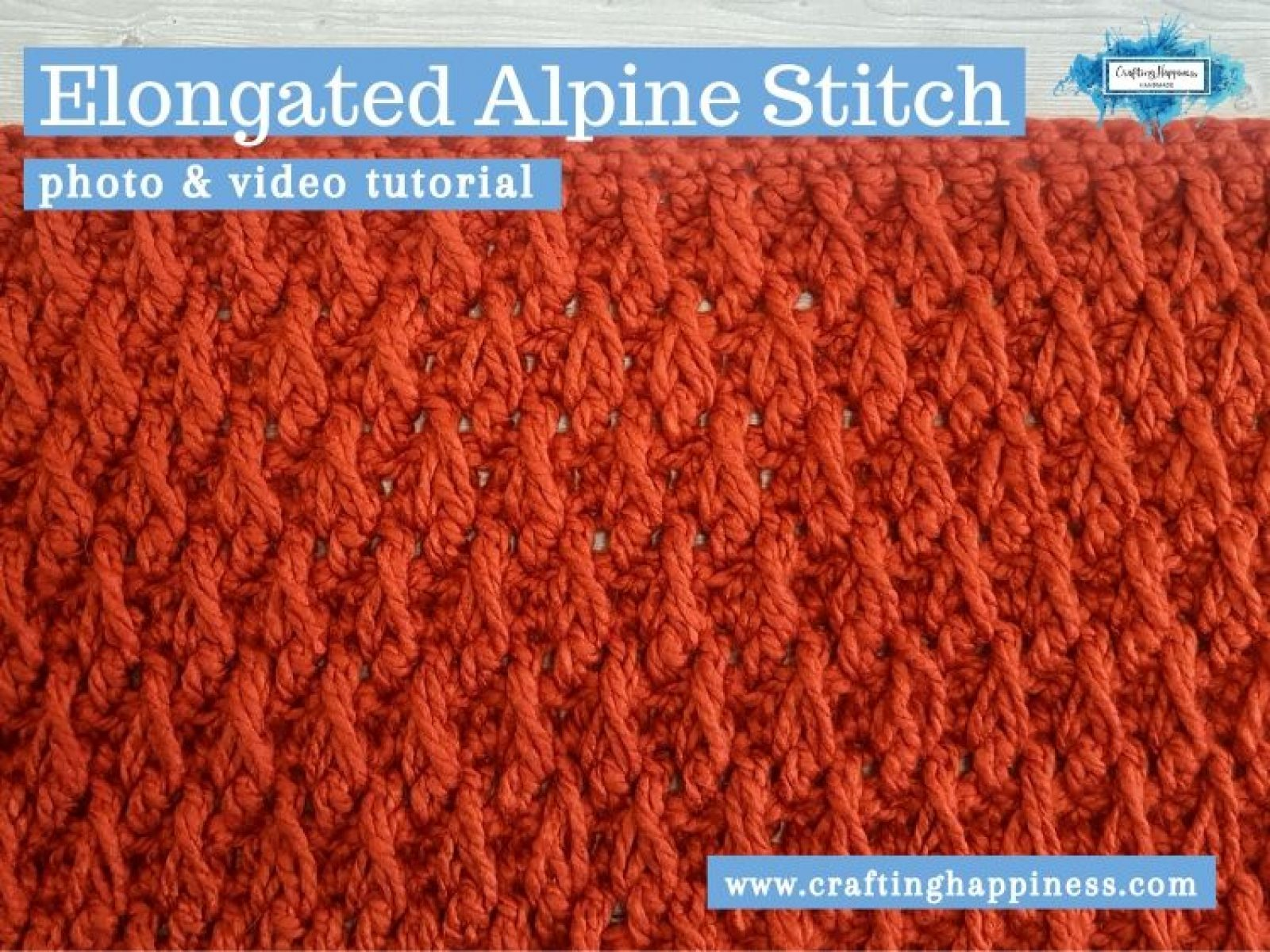 Elongated Alpine Stitch by Crafting Happiness FACEBOOK POSTER