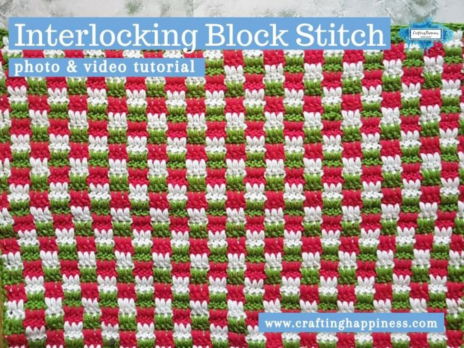 Interlocking Block Stitch by Crafting Happiness FACEBOOK POSTER