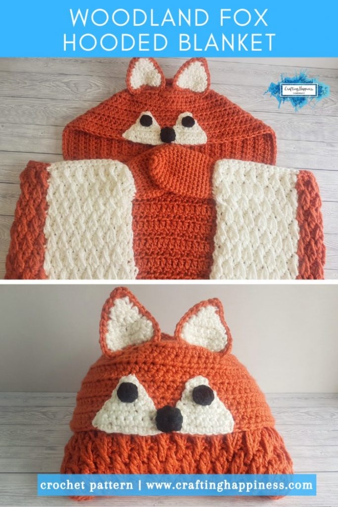 Woodland Fox Hooded Blanket Crochet Pattern By Crafting Happiness