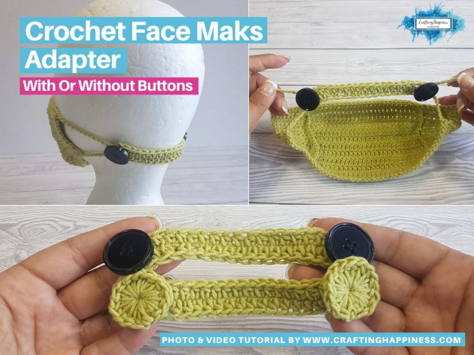 Crochet Face Mask Adapter EVEN IF YOU DON'T HAVE BUTTONS FACEBOOK POSTER