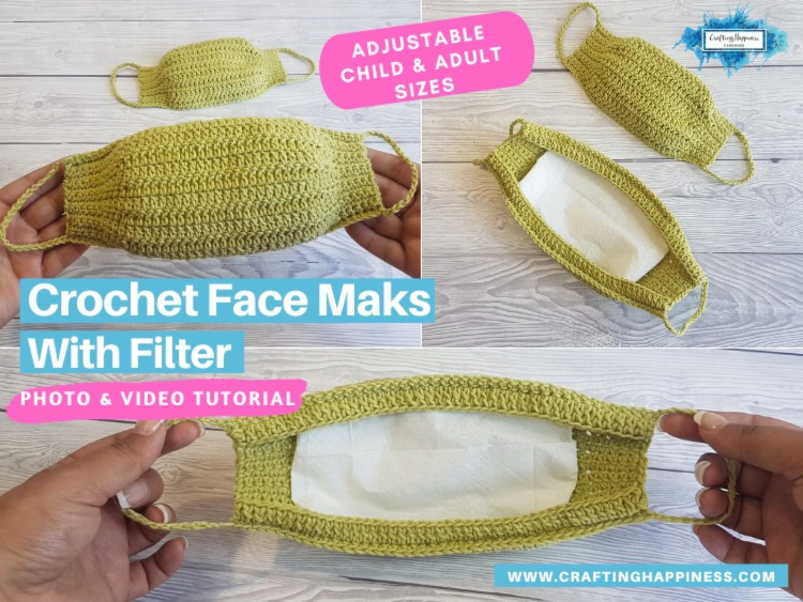 Crochet Face Mask With Filter (Child & Adult) FACEBOOK POSTER