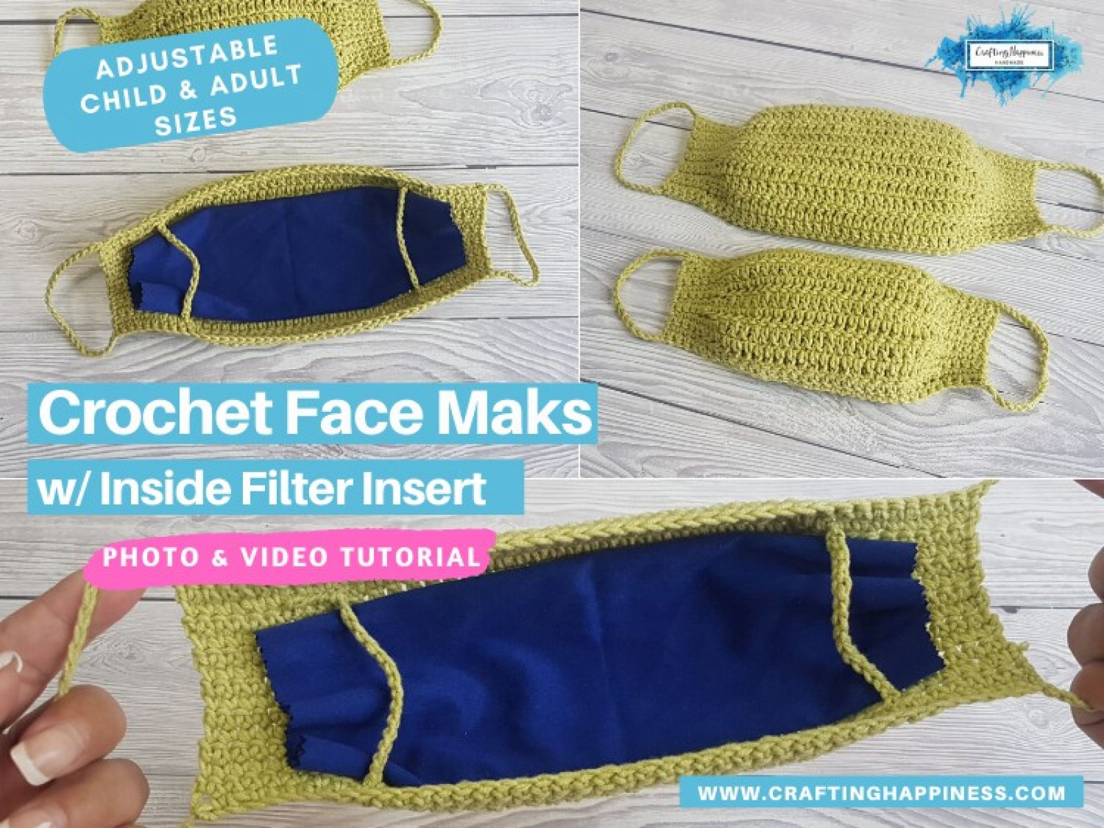 Crochet Face Mask With Filter Insert (Child & Adult)