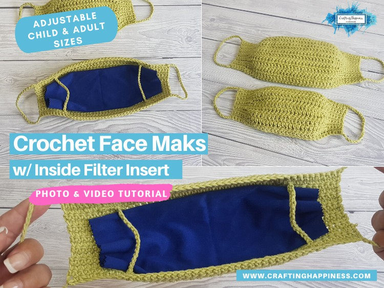 Crochet Face Mask With Filter Insert (Child & Adult) FACEBOOK POSTER