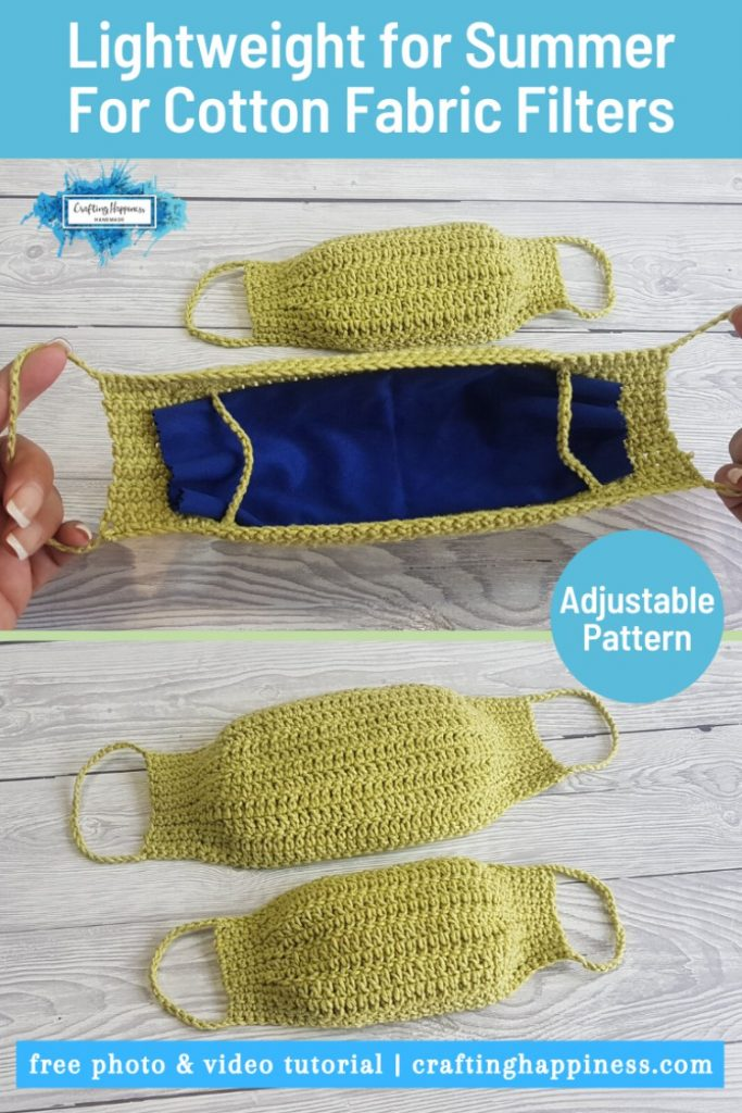 Crochet Face Mask With Filter Insert (Child & Adult) PINTEREST POSTER 2