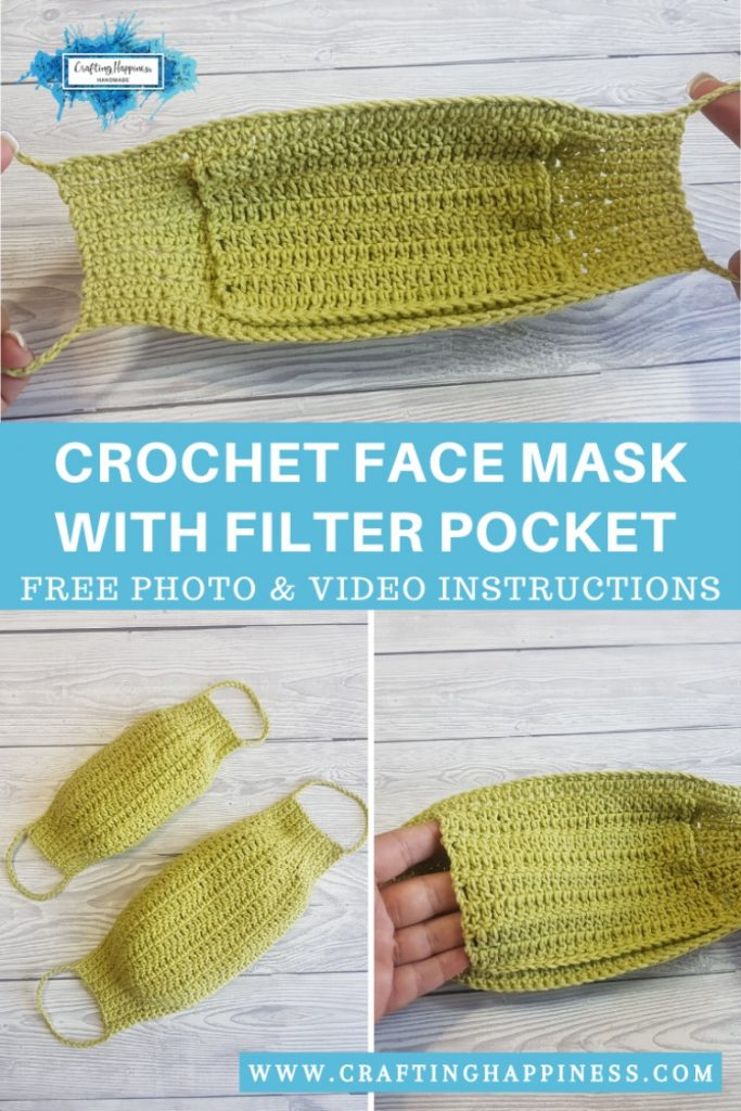 Easy Crochet Face Mask With Filter Pocket PINTEREST POSTER 4