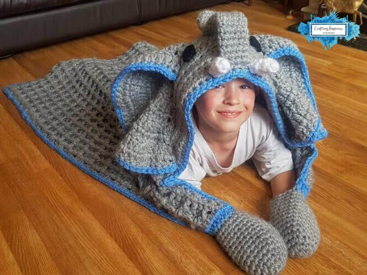 Hooded Elephant Blanket With Big Floppy Ears by Crafting Happiness