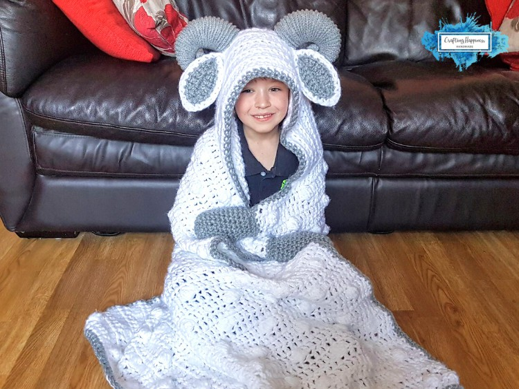 Hooded Sheep Blanket With Large Crochet Horns by Crafting Happiness