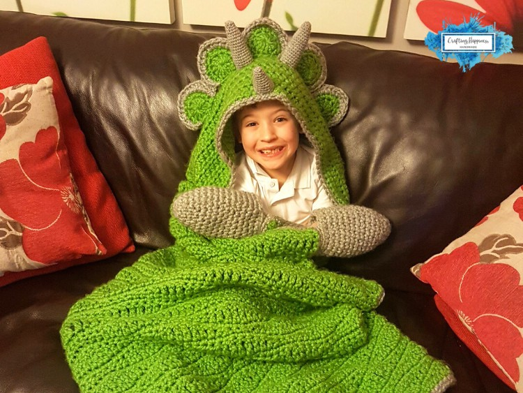 Hooded Dino Blanket Triceratops Hooded Blanket by Crafting Happiness