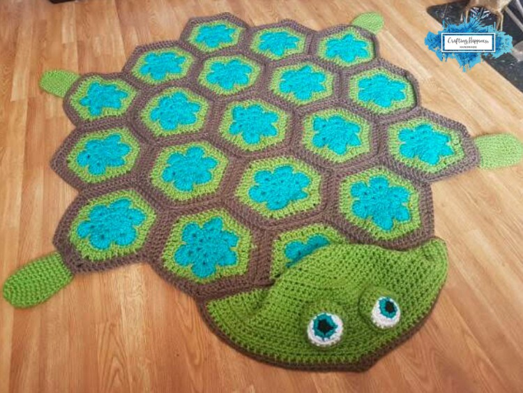 Hooded Turtle Blanket Hexagon Afghan By Crafting Happiness