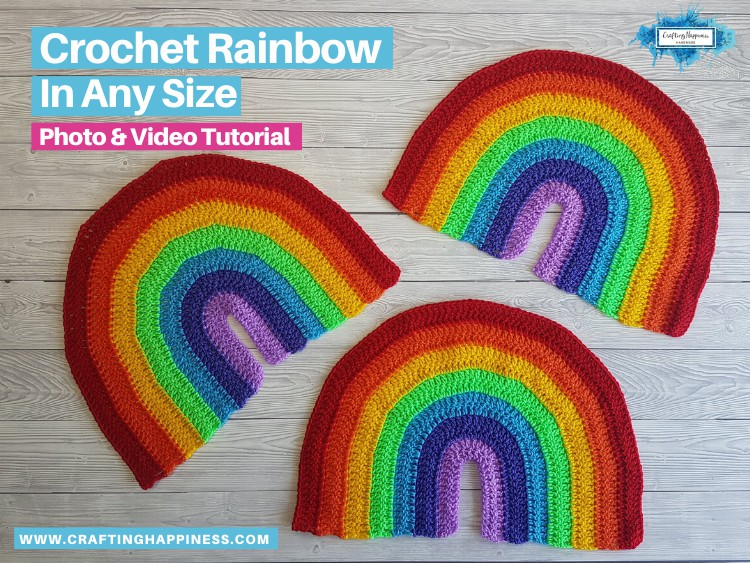 Set of 3 crochet rainbows
