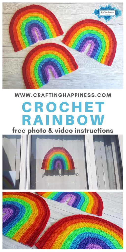 Crochet Rainbow Pattern For Window Display Or Wall hanging