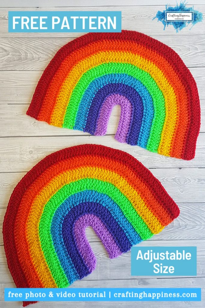 Two large crochet rainbow decoration free pattern