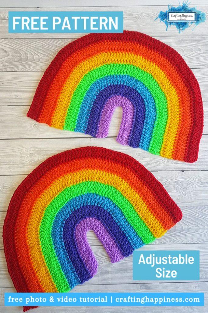Two large crochet rainbow decoration free pattern