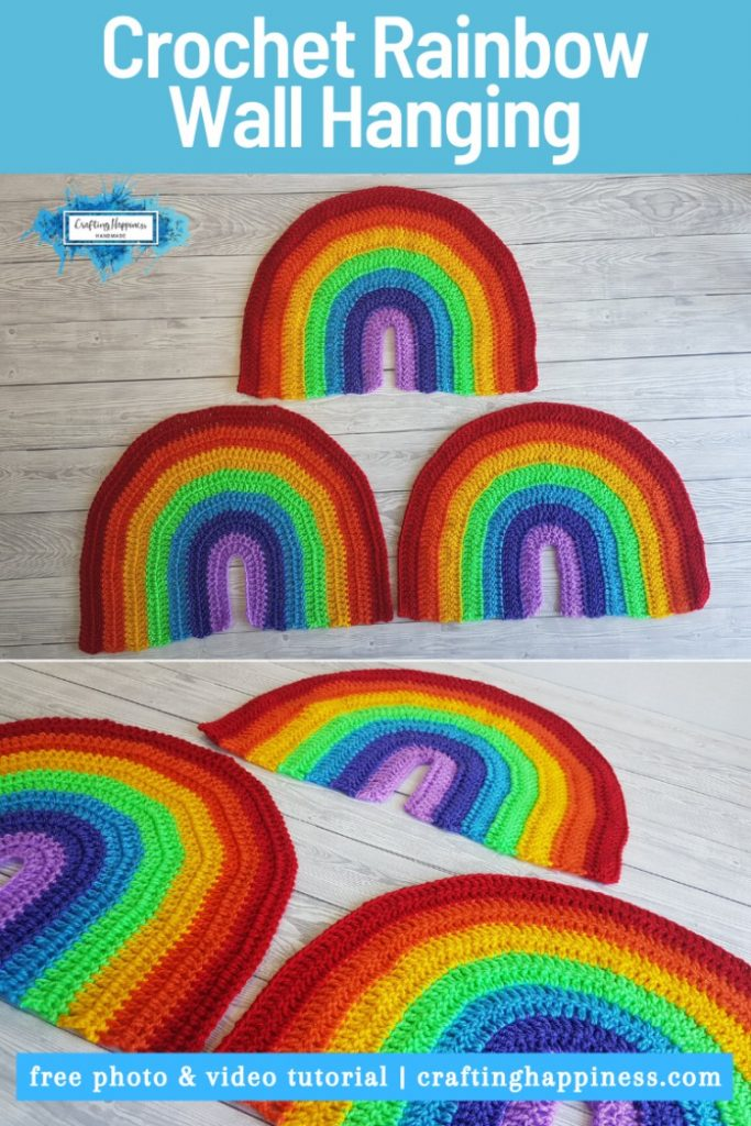 Display of yarn rainbow made in crochet as decoration