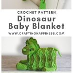 Dino Baby Blanket by Crafting Happiness PINTEREST POSTER 1