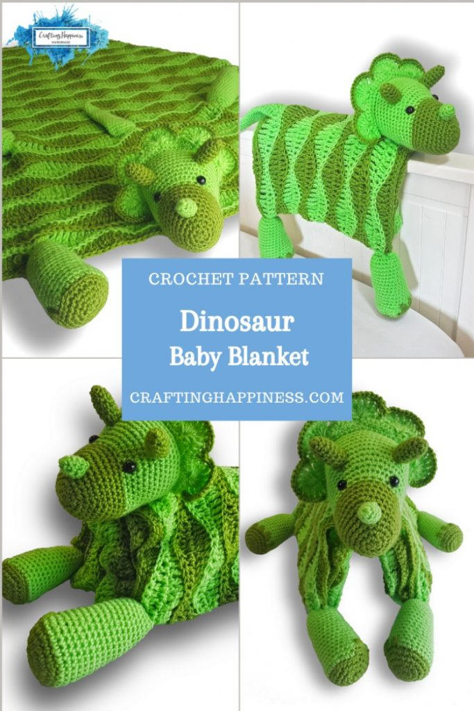 Dino Baby Blanket by Crafting Happiness PINTEREST POSTER 3