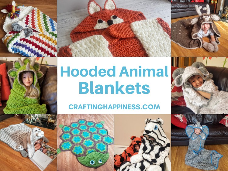 Hooded Animal Blankets - Round Up Of Crafting Happiness Crochet Patters For Animal Blankets