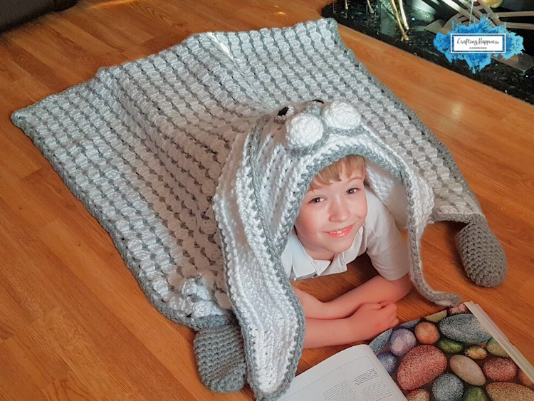 Hooded Bunny Blanket With Long Floppy Ears by Crafting Happiness