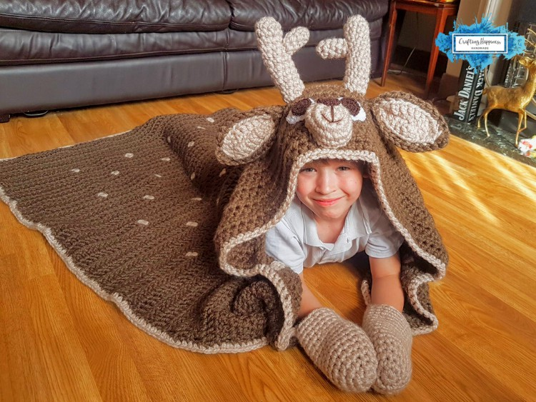 Hooded Deer Blanket that folds into a deer pillow - Crochet Pattern by Crafting Happiness