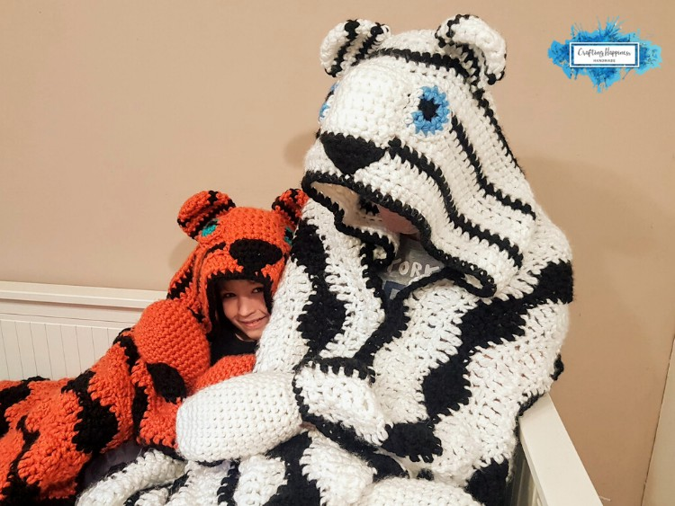 Hooded Tiger Blanket With Black and White Stripes Crochet Pattern by Crafting Happiness