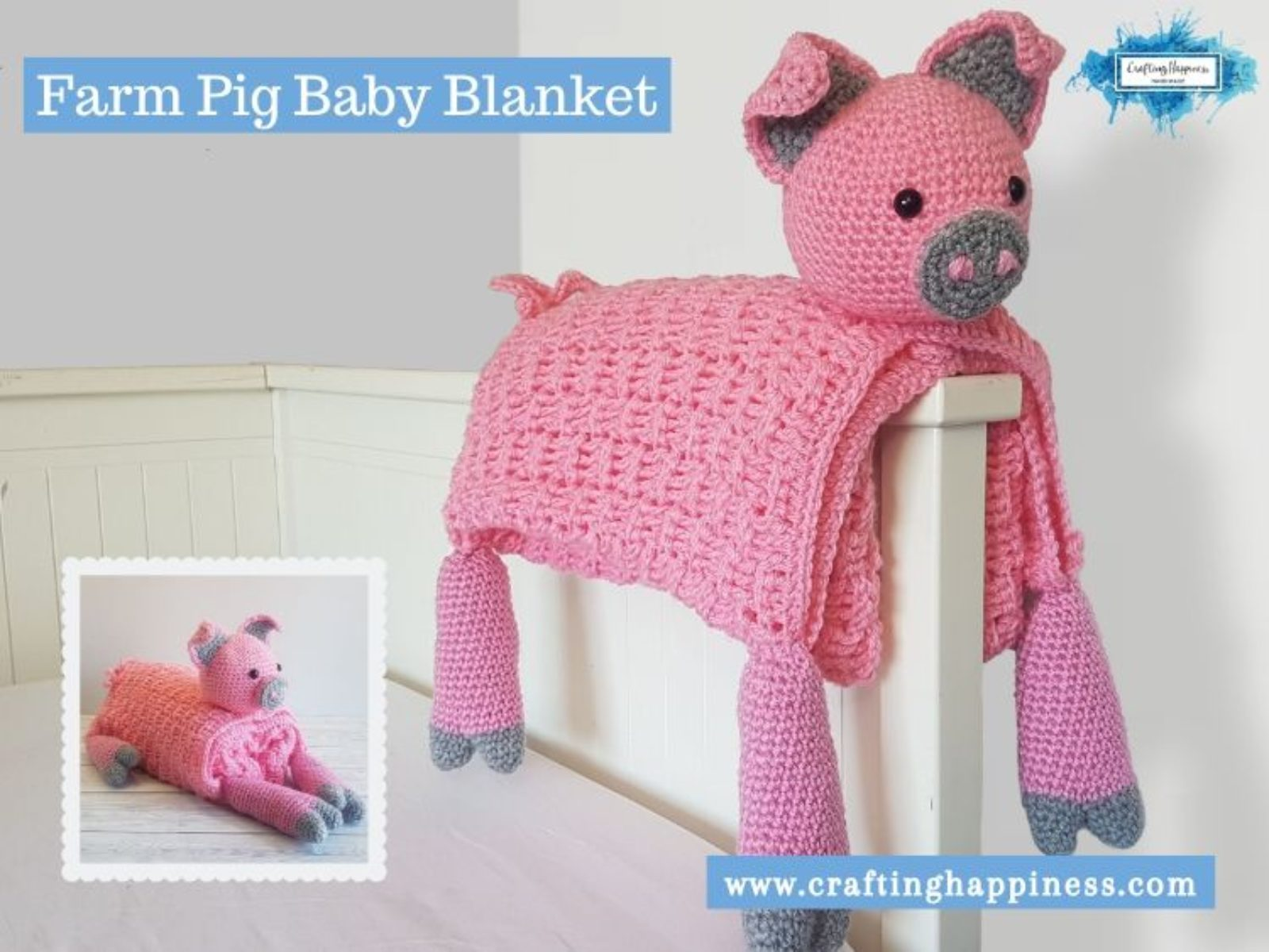 Farm Pig Baby Blanket by Crafting Happiness FACEBOOK POSTER