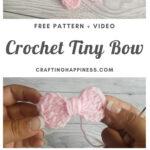Crochet Amigurumi Tiny Bow by Crafting Happiness MAIN PINTEREST POSTER 1