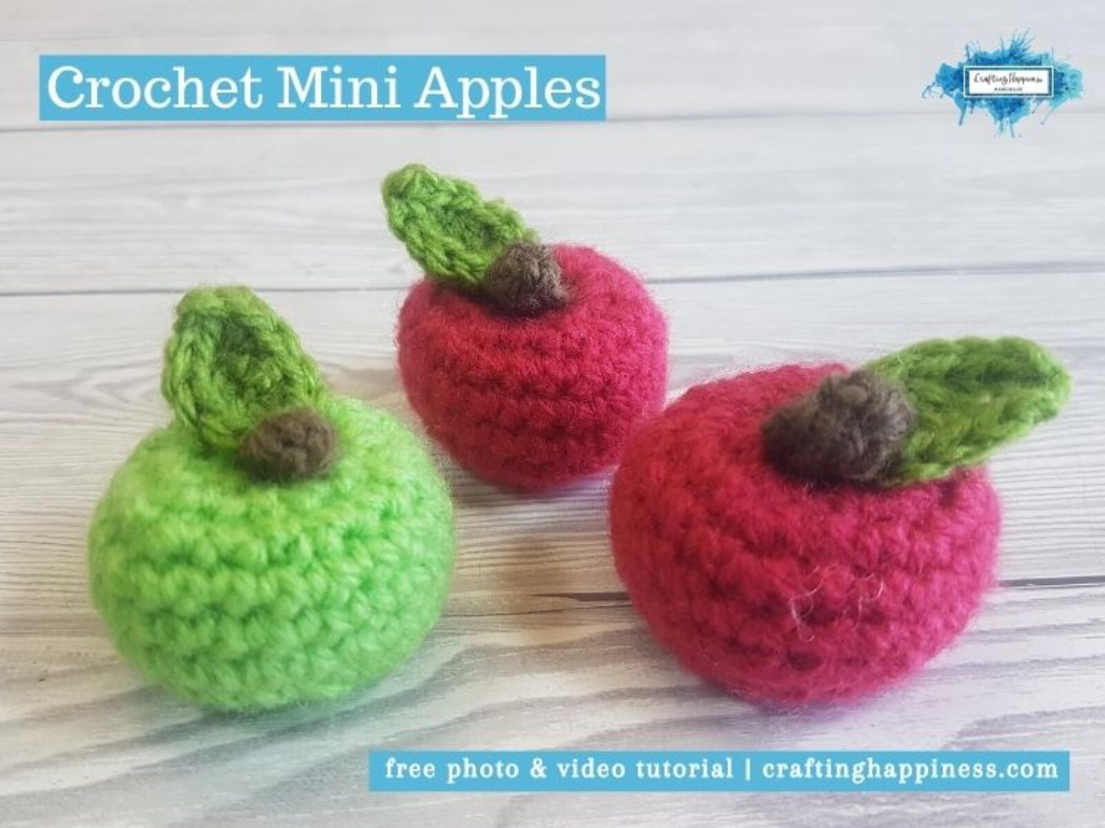 Crochet Mini Apples by Crafting Happiness FACEBOOK POSTER
