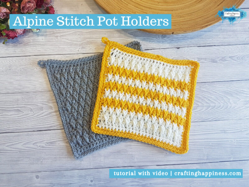 Alpine Stitch Pot Holders by Crafting Happiness FACEBOOK POSTER