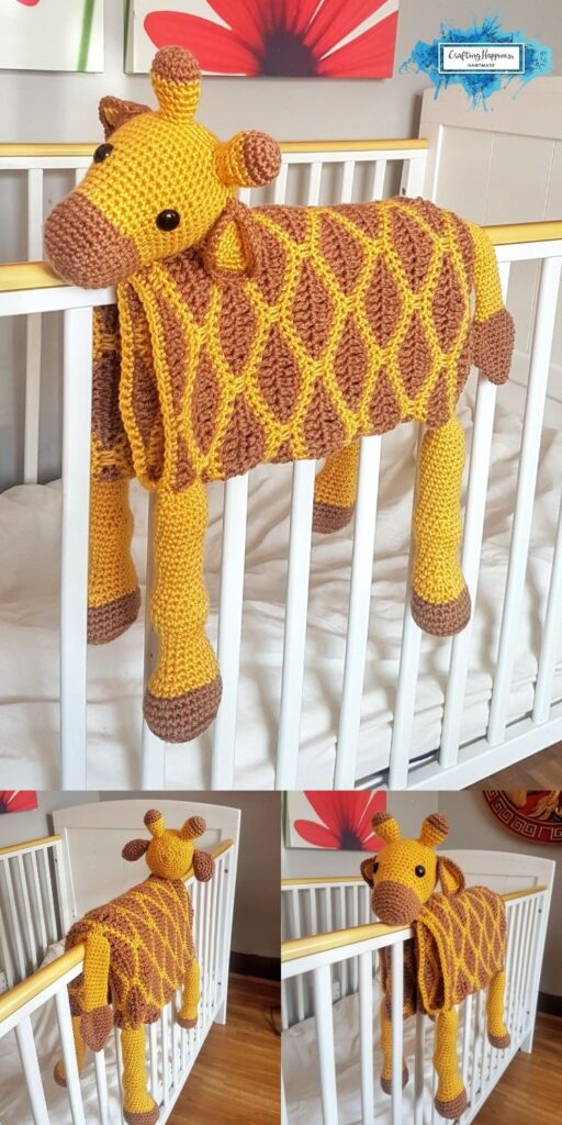 Giraffe Baby Blanket by Crafting Happiness Blog Poster 1