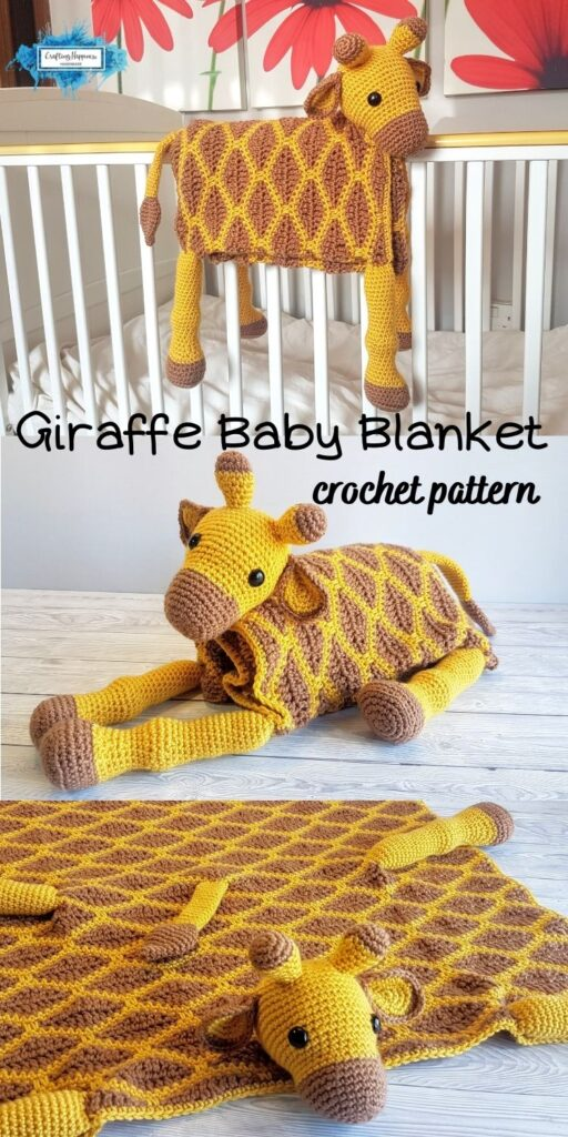 Giraffe Baby Blanket by Crafting Happiness Blog Poster 2