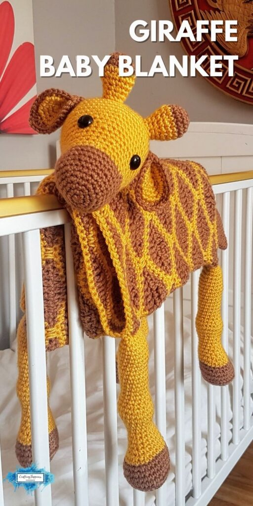 Giraffe Baby Blanket by Crafting Happiness Blog Poster 3