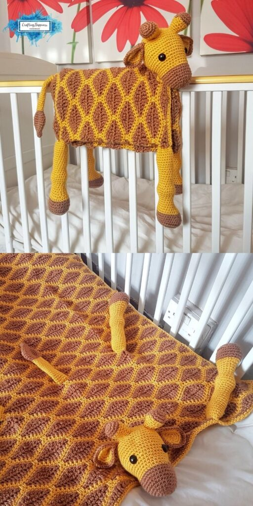 Giraffe Baby Blanket by Crafting Happiness Blog Poster 4