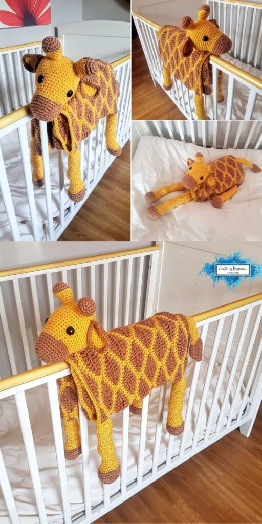 Giraffe Baby Blanket by Crafting Happiness Blog Poster 5