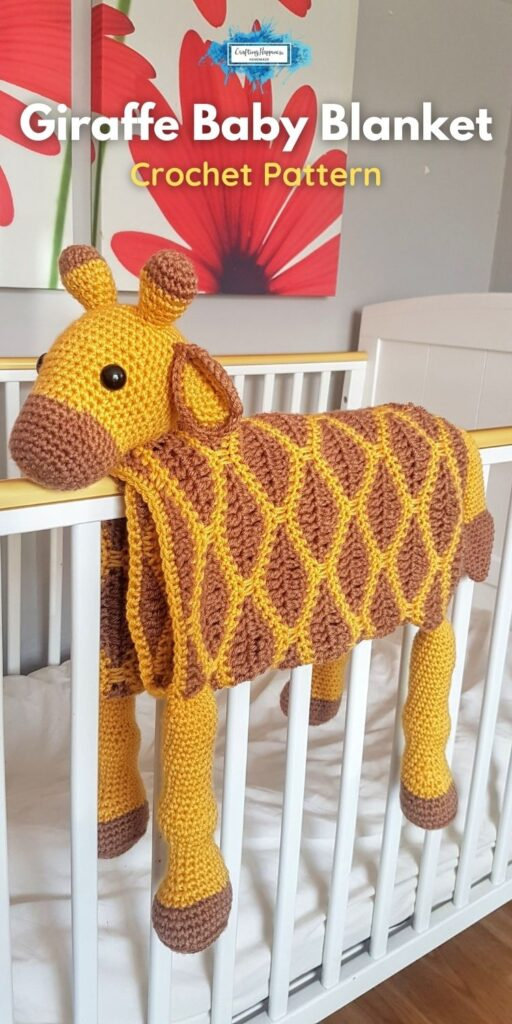 Giraffe Baby Blanket by Crafting Happiness Blog Poster 6