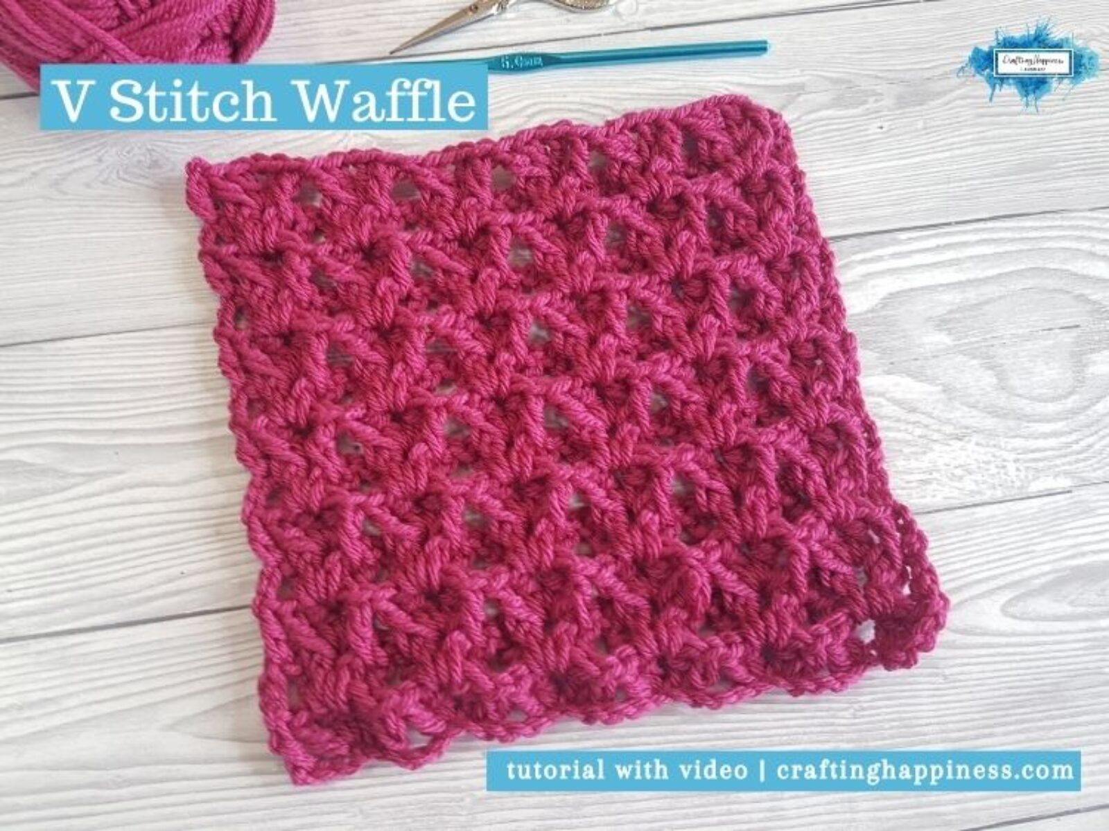 V Stitch Waffle by Crafting Happiness FACEBOOK POSTER