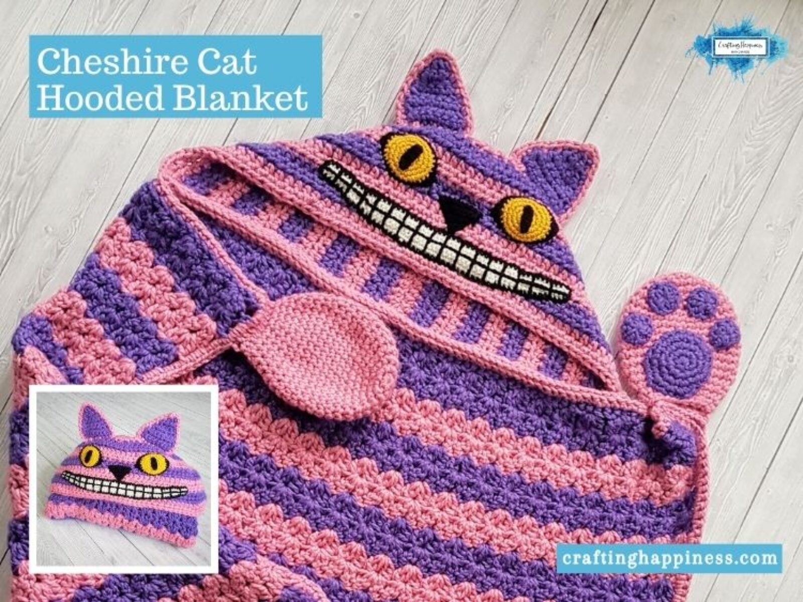 2in1 Cheshire Cat Hooded Blanket Crochet Pattern Crafting Happiness