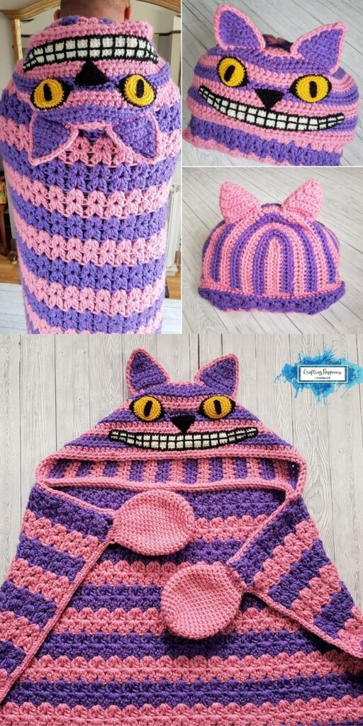 PIN 1 BLOG POSTER - Spooky Cheshire Cat Hooded Blanket