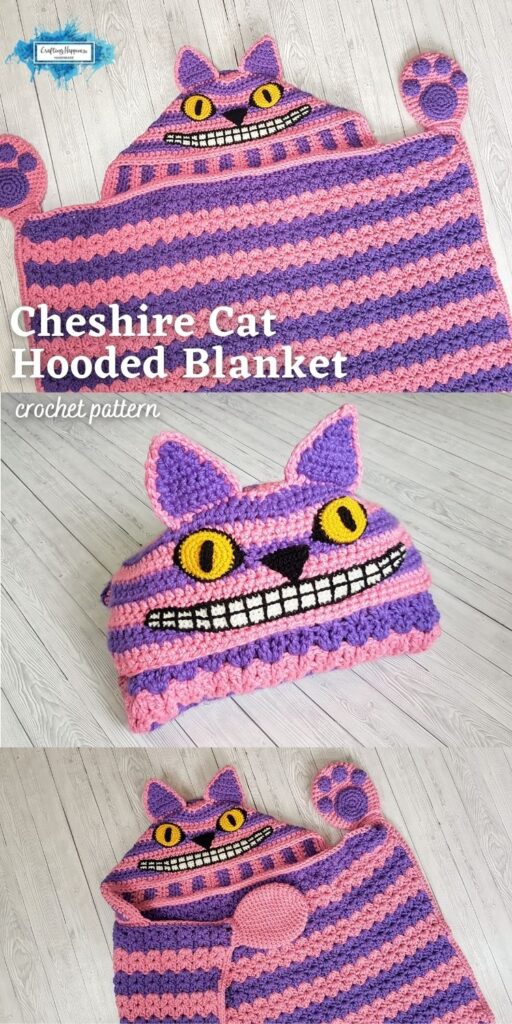 PIN 4 BLOG POSTER - Frightening Cheshire Cat Hooded Blanket